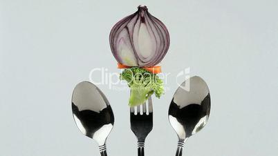 vegetables in holder one