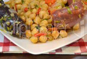 Chickpea stew with morcilla and chorizo