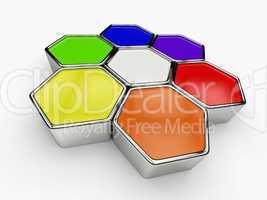 farbkreis aus sechseck bausteinen