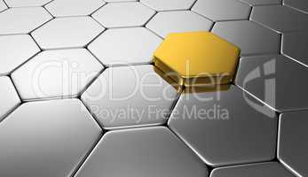 sechseck konzept gold silber
