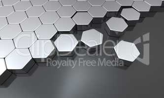 3d sechseck bausteine - schwarz silber