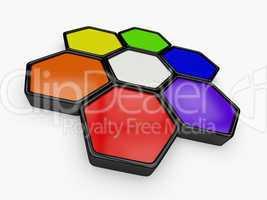 3d farbkreis aus sechsecken 3