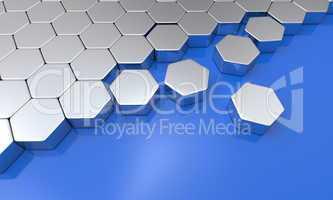 3d sechseck bausteine - blau silber