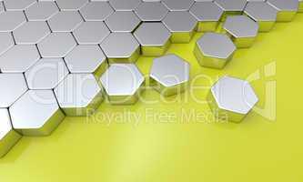 3d sechseck bausteine - gelb silber