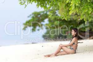 beautiful filipina woman on a tropical beach