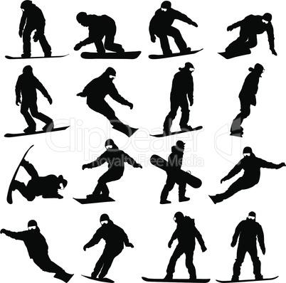 set snowboarders