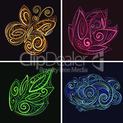 set of color nature web icons quilling style.eps