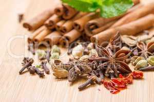 dry multicolored spice closeup