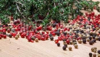 dry thyme with multicolored peppercorn
