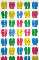 viele farbige badelatschen many colored slippers