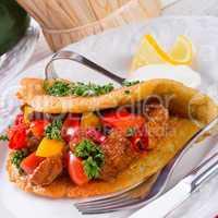 hungarian goulash with potato pancake