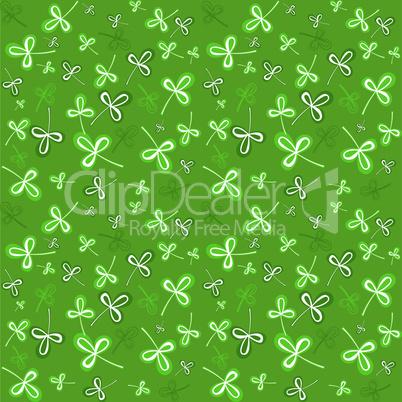 Dark green seamless clover pattern