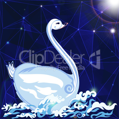 swan floats on the waves