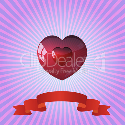 heart on striped color background