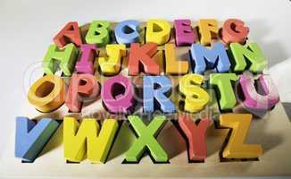 Latin alphabet multicolored letters
