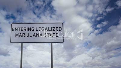Sign Legalized Marijuana State Clouds Timelapse