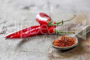 powdered chilli on spoon
