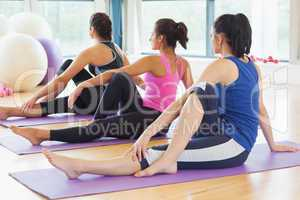 Class doing the half spinal twist pose on mats at yoga class