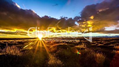 sunrise at grassland