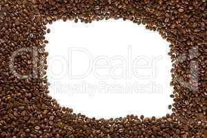 geröstete kaffeebohnen als rahmen