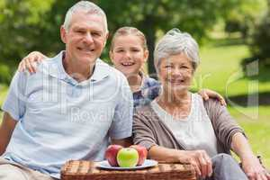 Smiling senior couple and granddaughter with picnic basket at pa
