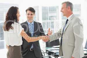 Businessman introducing colleagues