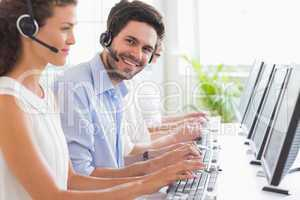 Customer service representative working with colleagues