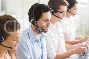 Customer service agents working