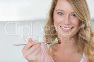 Closeup of woman having salad