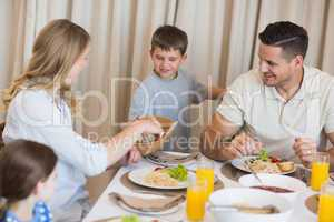 Family eating lunch at dining table