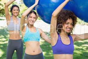 Sporty women exercising