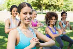 Multiethnic women exercising in park