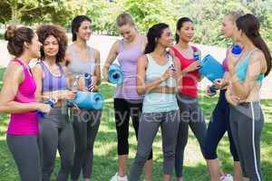 Multiethnic sporty women talking in park