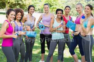 Sporty female friends in park