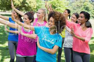 Friends doing fitness dance at park