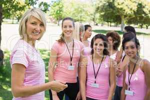 Confident participants at breast cancer campaign