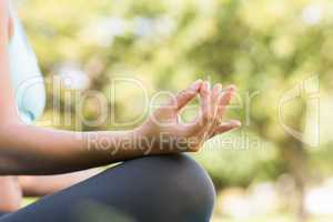 Close-up mid section of sporty woman in lotus pose at park