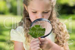 Girl examining leaf with magnifying glass at park