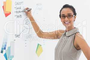 Designer writing on whiteboard and smiling at camera