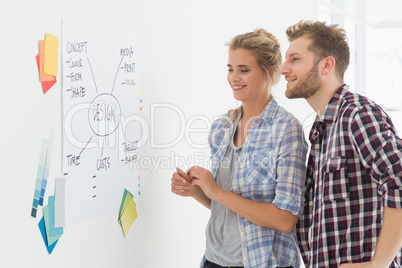 Design team looking at whiteboard