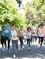 Marathon athletes running