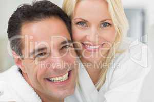 Closeup portrait of a cheerful woman and man