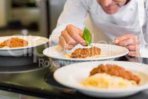 Closeup of a male chef garnishing food