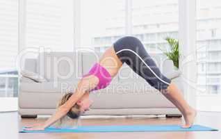 Fit blonde in dolphin pose on exercise mat