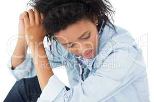 Close-up of a sad young woman