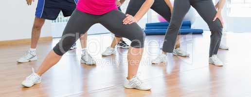 Low section of people doing power fitness exercise