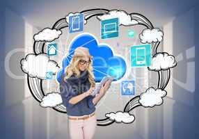 Stylish blonde using tablet pc with app icons and cloud