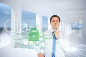 Confused businessman with lock and circuit board graphic
