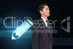 Composite image of pencil icon on futuristic background