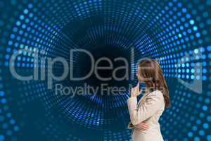 Composite image of profile view of doubtful businesswoman standi